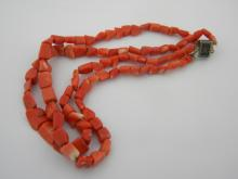 Antique Chinese Export Red Coral Necklace Double String