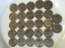 Qty 27  Kennedy Halves Dollar Year 1966-1990