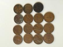 Qty 15 Wheat Pennies