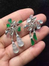 Pair of 18K White Gold Diamond Sculpted Icy Green And White Jadeite (Flower and Gourd) Pieces