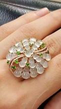 18K Yellow Gold Diamond  Sculpted Icy White  Jadeite  (Gourd) Ring