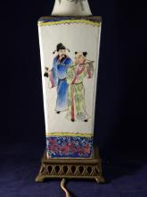 ANTIQUE CHINESE EIGHT IMMORTALS FAMILLE ROSE VASE