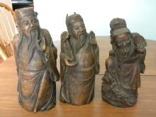 Antique Chinese Lucky Three Bamboo Carving Statues