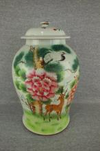Antique Chinese Famille Rose covered storage jar