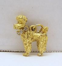 vintage gold tone rhinestone poodle charm bracelet