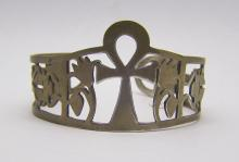 Iraq 800 silver ank cross cuff bracelet