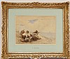 Watercolor, Figures on a Beach, Eugene Boudin (French, 1824 - 1898), N3HNH, Eugene Boudin, $0