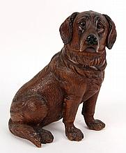 Carved Wooden Retriever Dog Figure, 20thC., N3HNF