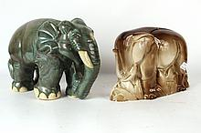 Two Ceramic Elephant Standing Figures