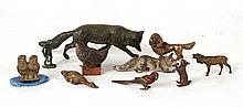 Group of Bronze and Metal Animal Figures