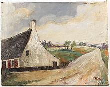 Oil on Canvas Landscape with Barn