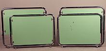 Pair of Modern Green-Lacquer & Chrome Twin Beds