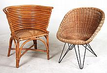Two Rattan Club Chairs