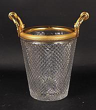 Baccarat Style Cut Glass & Gilt Metal Ice Bucket