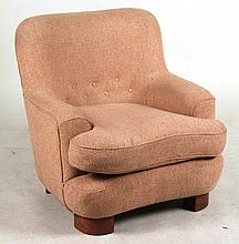 Contemporary Pink-Upholstered Club Chair