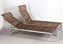Pair of Aluminum and Wood Chaise Lounges