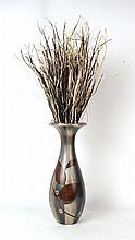 Floral Decorated White Metal Baluster Form Vase