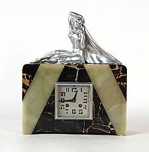 Art Deco Onyx and Stone Figural Mantle Clock