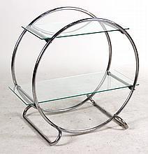 Contemporary Chrome and Glass Etagere