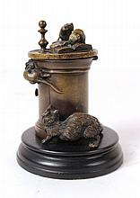 Bronze Cat and Mouse Motif Hinged Lid Inkwell