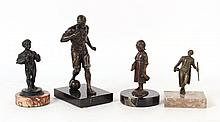 Four Bronze Figures Mounted on Marble Bases