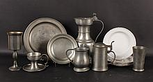 Group of German and Dutch Pewter Table Articles