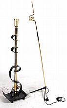 Two Brass & Black-Lacquer Floor Lamps