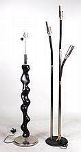 Two Black and Chrome Floor Lamps