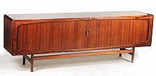 Danish Modern Stained Walnut Low Cabinet