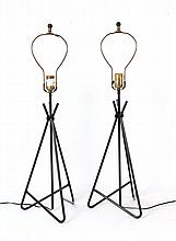 Pair of Wrought Iron Triangular Form Table Lamps