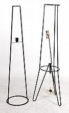 Two Black-Painted Metal Floor Lamps