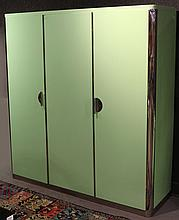 Modern Green-Lacquer & Chrome Armoire
