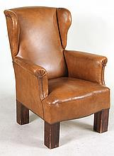 Contemporary Brown-Upholstered Wing Chair