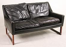Contemporary Black-Leather Loveseat