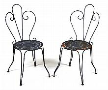 Pair of Cast-Iron Ice Cream Parlor Chairs