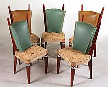 Five Contemporary Walnut Dining Chair Frames