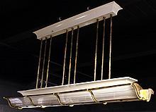 Art Deco Brass, Glass, & White Billiard Lamp