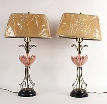 Pair of Pink Porcelain Flower Form Table Lamps