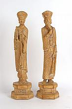 Pair of Chinese Carved Wooden Figures