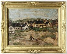 Oil on Canvas Country Landscape with Man