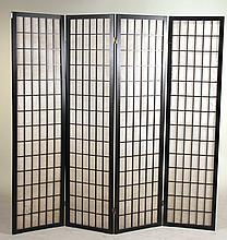 Black-Painted Fabric Four Panel Screen