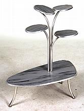 White-Metal Multi-Tiered Plant Stand