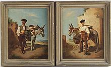 Two Oils on Board, Men with Donkeys