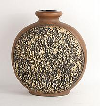 Over-Sized Brown and Tan Ceramic Vase, German
