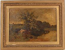 Oil on Canvas, Cows at River, Charles Collins