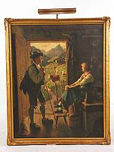 Oil on Canvas, Two Figures, Emil Rau