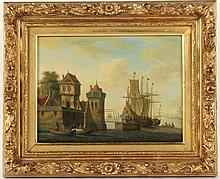 Oil on Board, Harbor Scene with Ships