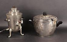 Art Deco Hand Hammered Aluminum &Ebony; Ice Bucket