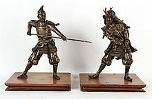 Two Bronze Samuri Figures, Meiji Period