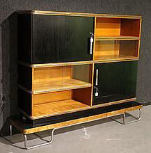 Art Deco Part-Ebonzed and Walnut Wall Cabinet